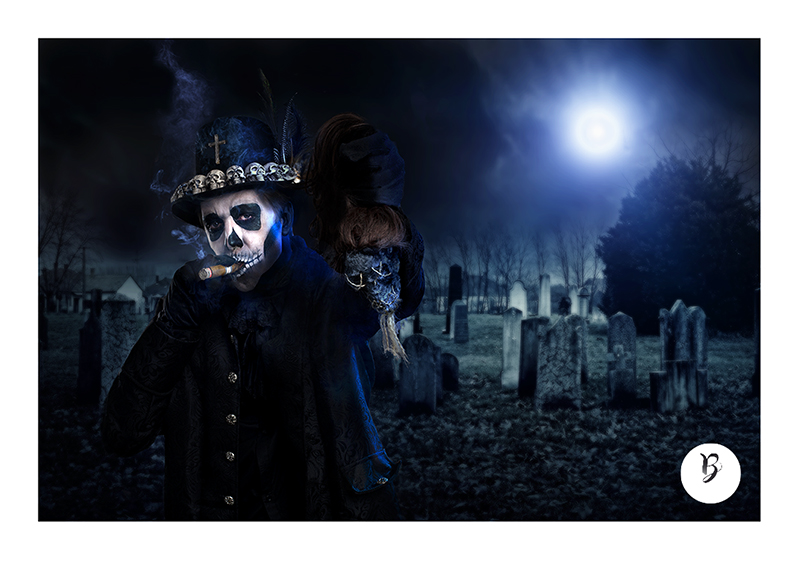 Baron samedi pour Halloween en shooting au Studio B à Beaucaire
