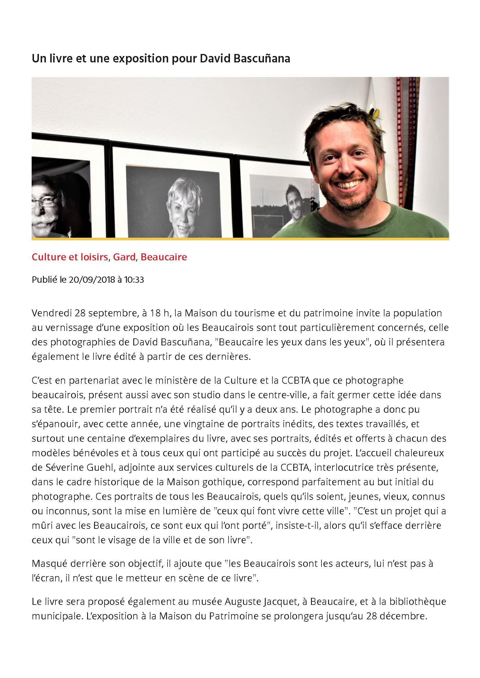 Un livre et une exposition pour David Bascuñana